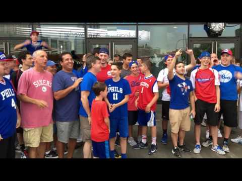 Philadelphia 76ers fans wearing Ben Simmons jerseys & chanting his name at the NBA Draft