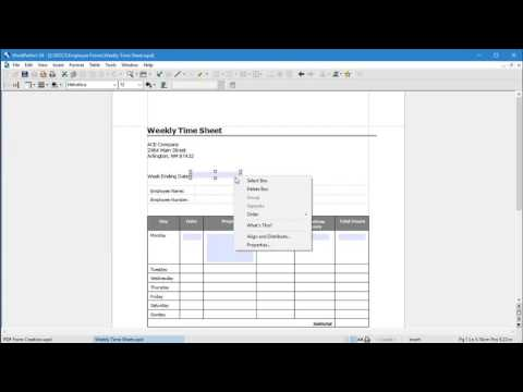 WordPerfect X8 - Use a template to create a PDF Form
