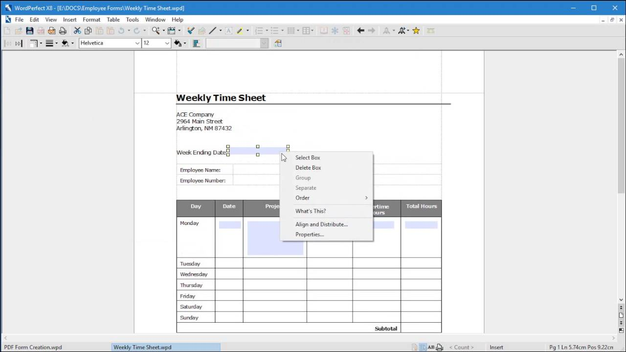 wordperfect x8 use a template to create a pdf form youtube