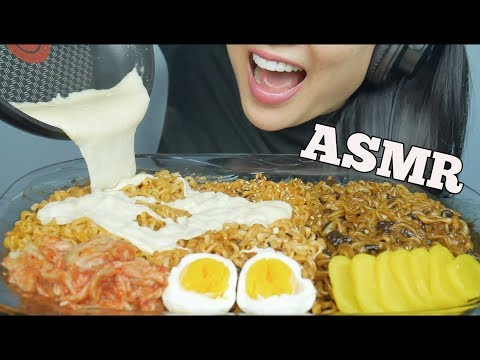ASMR CHEESY NOODLE FEAST (Spicy Fire + Carnonara + Jjajangmyeon) EATING SOUNDS NO TALKING | SAS-ASMR