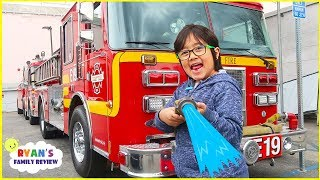 Ryan Explores Fire Trucks and film Ryan's Mystery Playdate