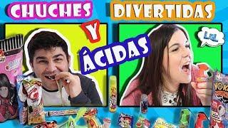Probando GOLOSINAS ÁCIDAS chucherias raras y ácidas, dulces ácidos LOL Retos Divertidos