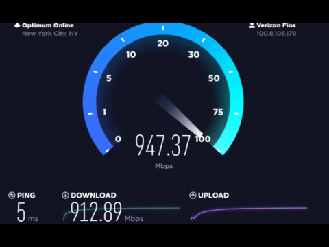 Verizon Fios Gigabit Internet Speed Test 940/880Mbps - Northern NJ