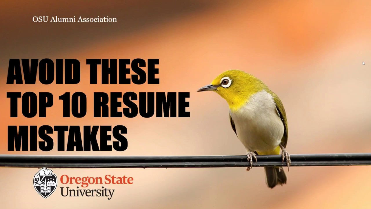 Avoid The Top 10 Resume Mistakes Webinar