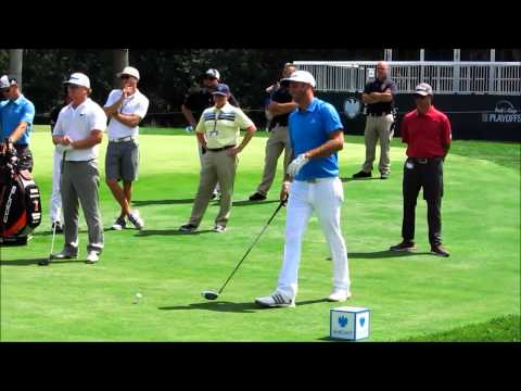 Phil Mickelson, Rickie Fowler, Dustin Johnson, & Charley Hoffman hit drivers during practice at Plai