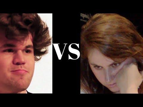 Kings Indian Defence: Magnus Carlsen vs Judit Polgar - Rapid Game 2012 - Kings Indian Defence