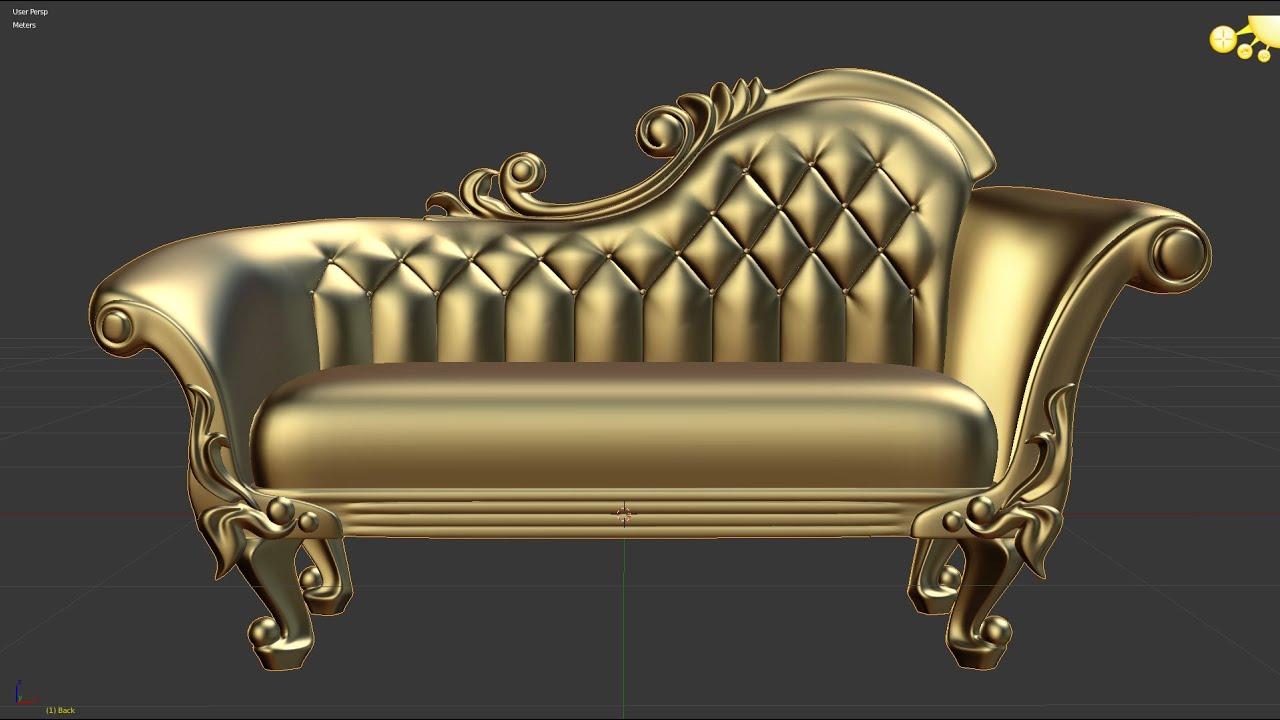 Victorian Deep Button Sofa Blender 3d Modeling