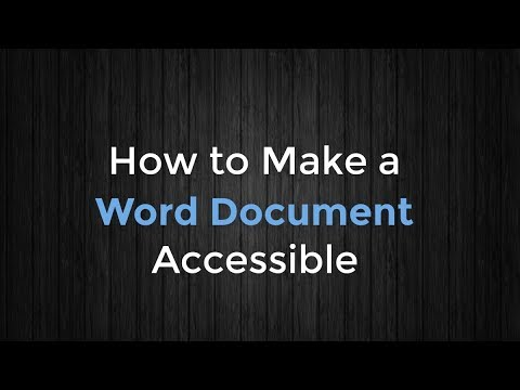 How to Make a Word Document Accessible