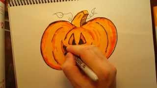 How to Draw a Pumpkin Free hand Kids Drawing Fun Made easy
