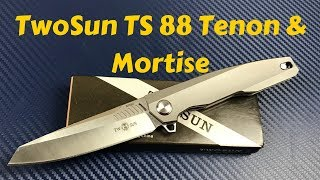 TwoSun TS 88 Tenon-And-Mortise knife  Titanium framelock flipper with M390 blade