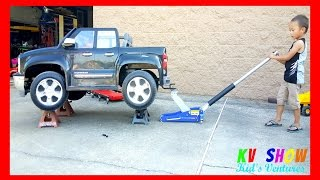 Kruz Got His Own Aluminum Floor Jack and A Creeper! Working On His Chevy Silverado Power Wheel Truck