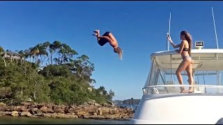 INSANE FLIPS OFF SUPER YACHT!!