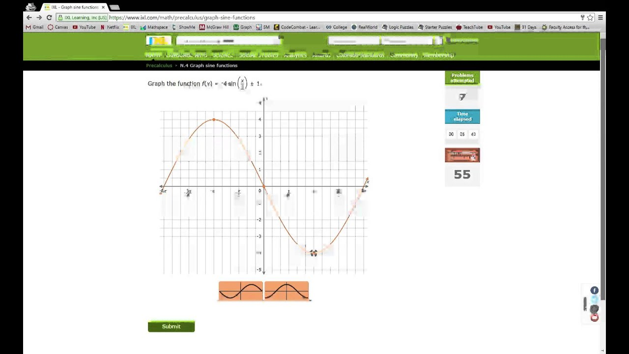 IXL N.4 Graph sine functions Precalculus practice - YouTube