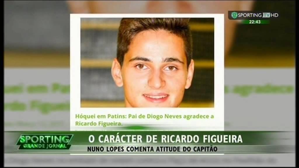 Hoquei Patins :: Ricardo Figueira (Sporting) faz assistência médica a adversário (Diogo Neves) em pleno rinque