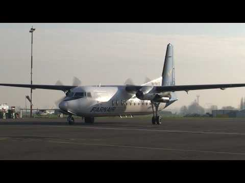Antwerp airport Fokker F-27 startup and T/O