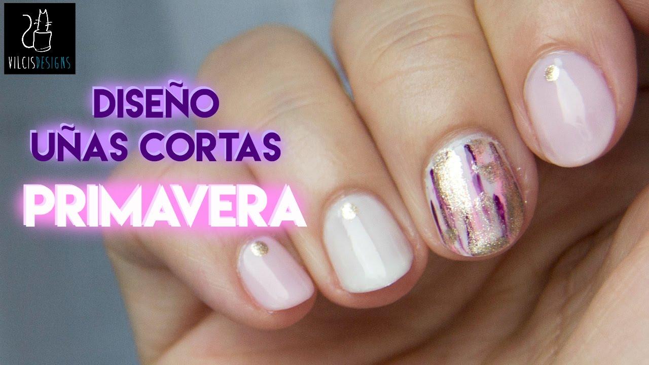 💐Diseño fácil de uñas cortas serie PRIMAVERA #01💐 - YouTube
