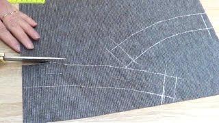 Обработка пояса в юбке на подкладке обтачкой