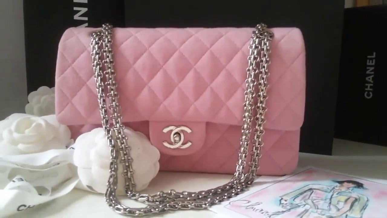 b0060719e6d4 CHANEL CLASSIC FLAP BAG IN PINK JERSEY WITH 2.55 CHAIN IN SILVER HARDWARE