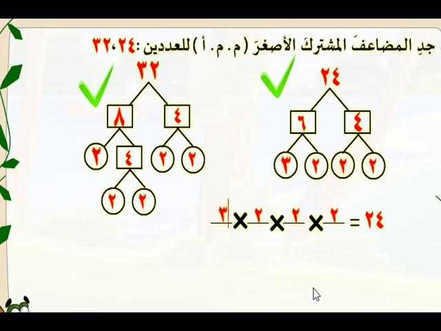 شرح اخر للمضاعف المشترك الاصغر -  المصدر الانوروا التعليمي - الصف الخامس