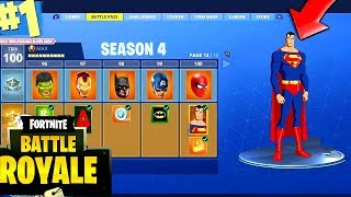 NEW FORTNITE SEASON 4 BATTLE PASS MAX 100 TIER SUPERMAN JUSTICE LEAGUE SKIN?