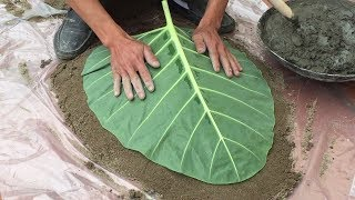 Great Idea From The Leaves // Leaf Shaped Fountain // Shaping Leaves From Sand And Cement