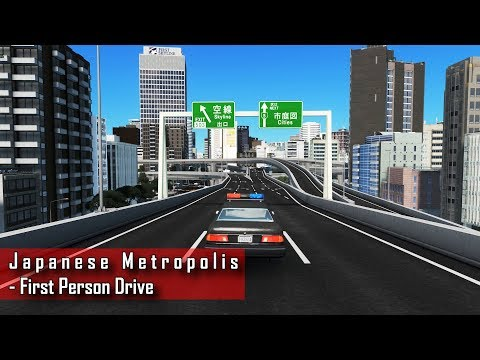 Cities: Skylines - First person expressway drive through center of Japanese metropolis