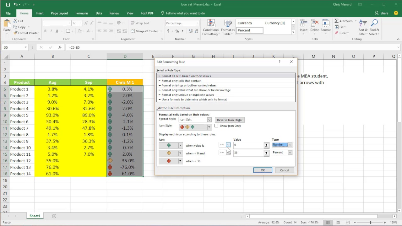 Use Two Arrow Icon Set With Conditional Formatting In