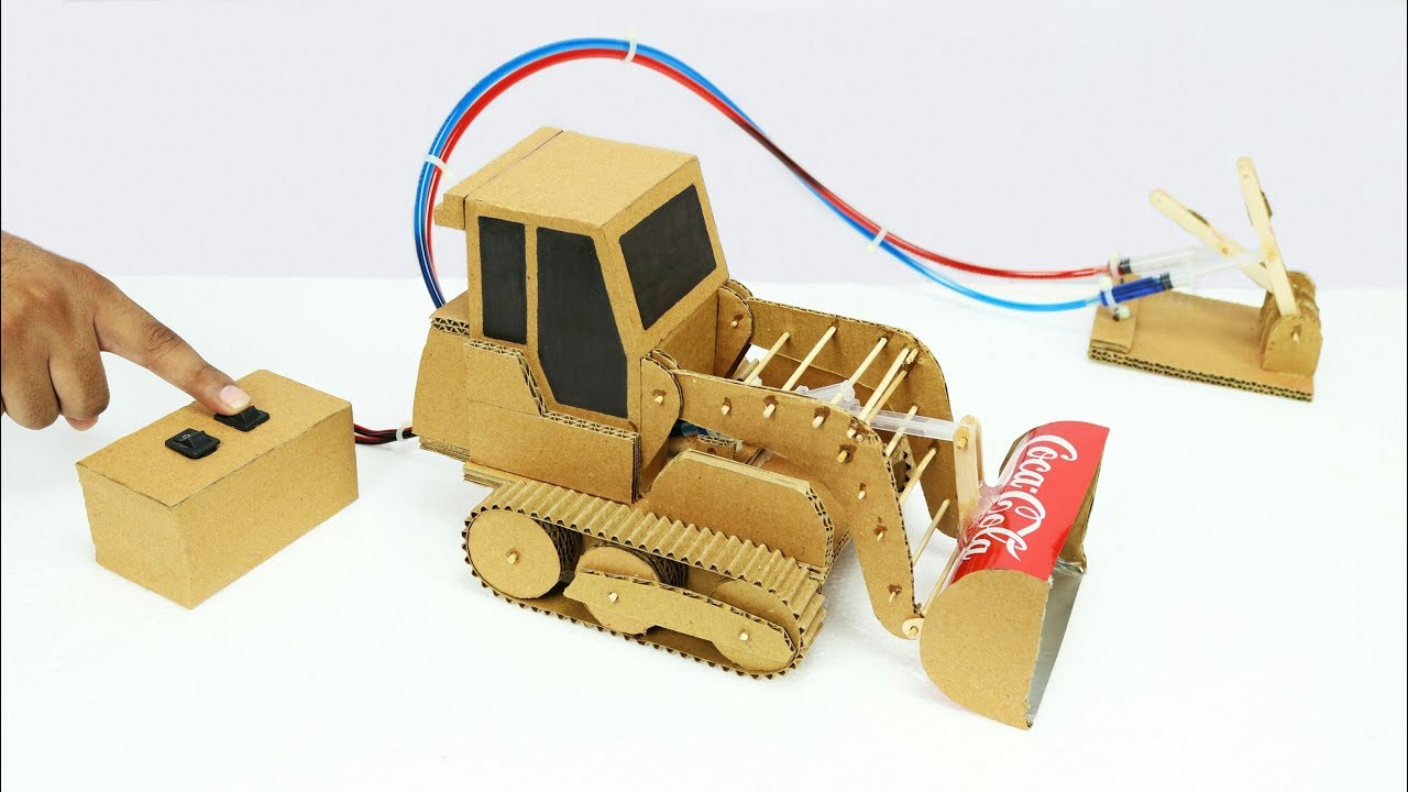 Cardboard Hydraulic Ar : How to make remote control hydraulic bulldozer from