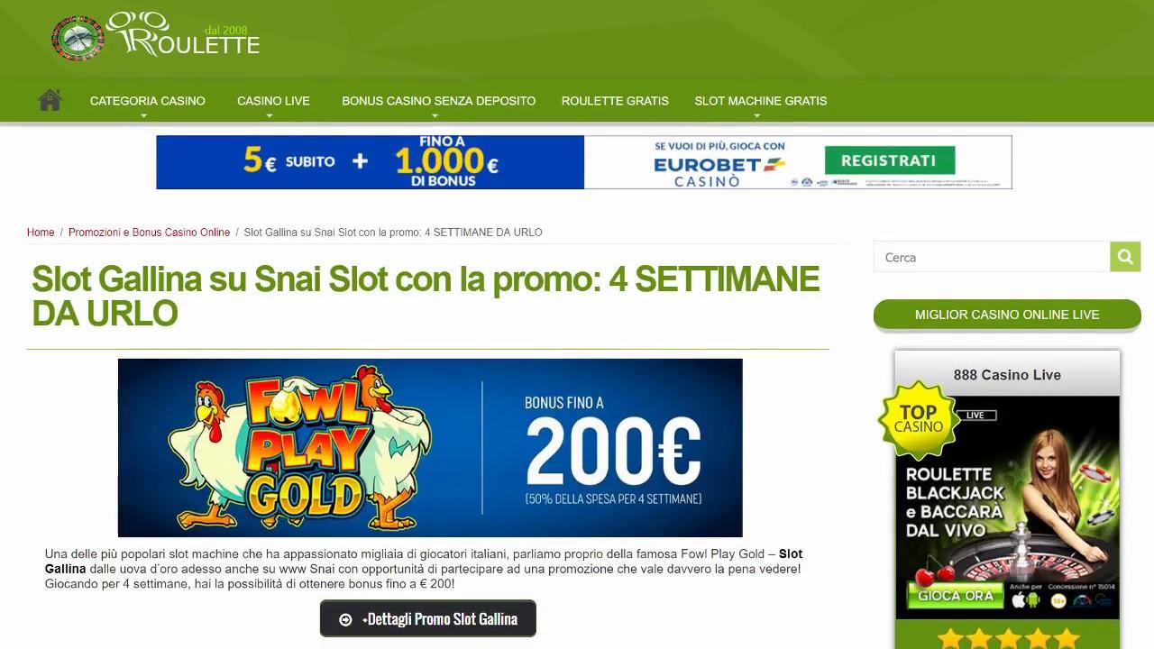 Snai bonus gold