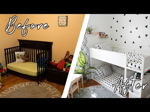 Kid S Tiny Bedroom Makeover On A Budget Diys We Surprised Them With A New Bedroom In One Day Youtube