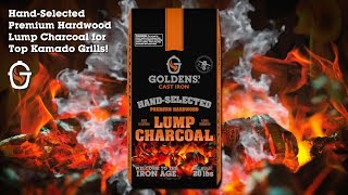 Premium Lump Charcoal for Top Kamado Grills! Goldens' Cast Iron