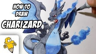 How to draw Mega Charizard X [Pokemon X/Y] drawing tutorial