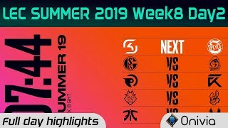 Full Day Highlights LEC Summer 2019 W8D2 By Onivia