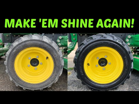 Shining Tractor Tires! Detailing Tractor Tires, Cleaning Wheels, Exhaust Soot, & Mower Deck Grime!