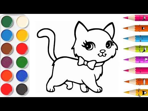 Peindre Un Chat Apprendre Les Couleurs APPRENDRE À DESSINER Vidéo éducative & Planète Coloriage