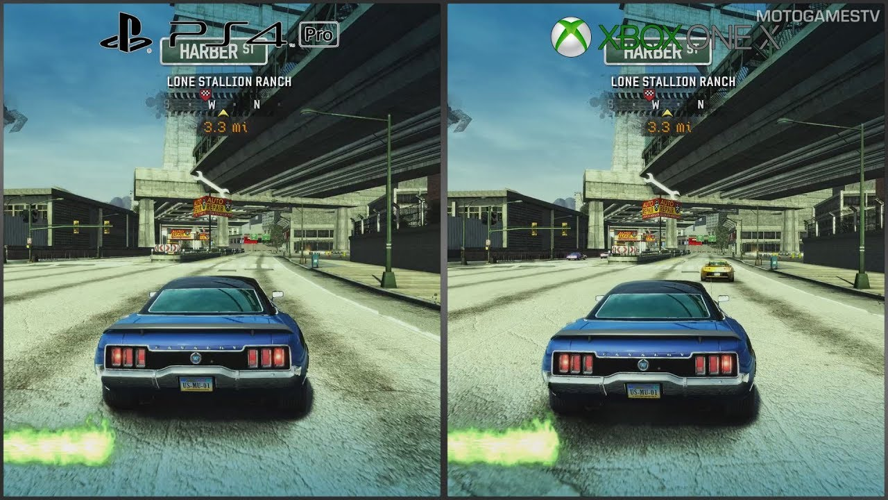 burnout paradise remastered playstation 4 pro vs xbox one x por wnanie grafiki speed zone. Black Bedroom Furniture Sets. Home Design Ideas