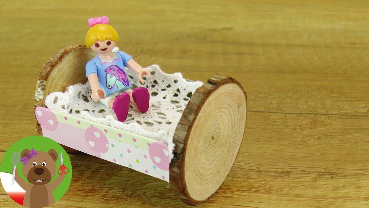 DIY łóżko Playmobil z drewna i tektury | łóżko lub kołyska dla lalek | pomysły DIY