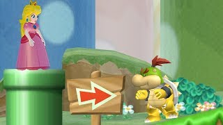 Peach and Bowser JR. in New Super Mario Bros Wii (2 Players)