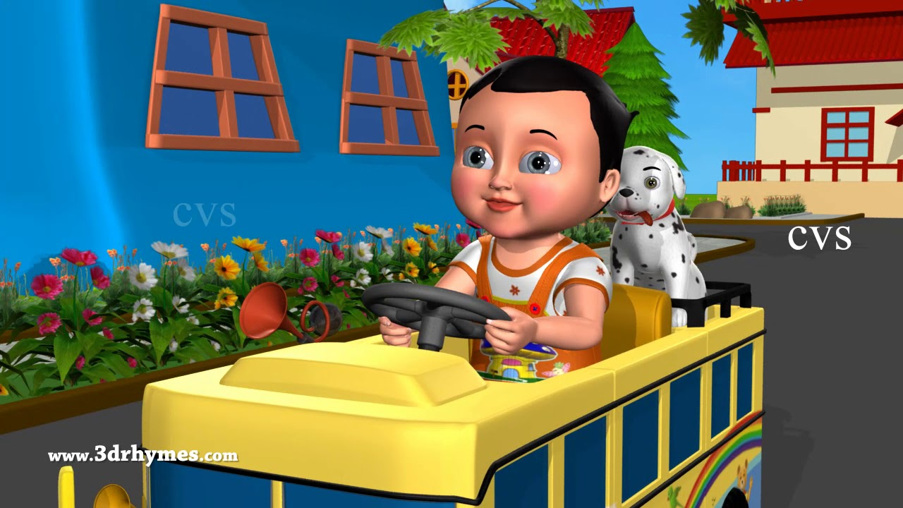 I Am Driving My Little Bus Nursery Rhyme - 3D Animation Rhymes & Songs for Children