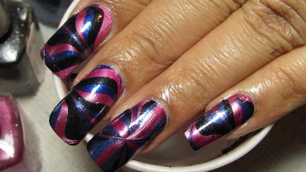Metallic Pink, Black & Blue | Water Marble March 2013 #5 ...