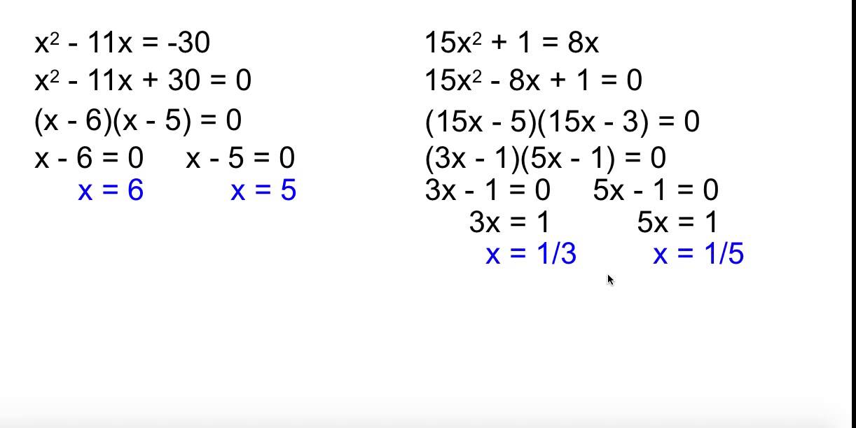 Alg 2 4-3 Solving Quadratic Equations by Factoring - YouTube