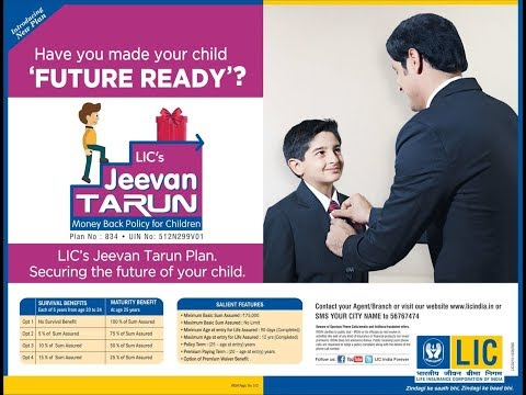 LIC JEEVAN TARUN Plan 834 || Children Money Back Plan