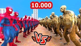 10.000 Spider-Man vs 10.000 Zombie 😱 Super Heroes