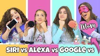 Siri VS Google VS Alexa VS Blindfolded Mom Picks Our Slime Ingredients!!