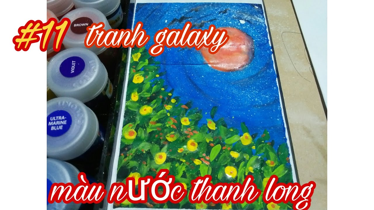 #11 tranh galaxy màu nước thanh long hãng colokit ( giá 50k),tranh phong cảnh .
