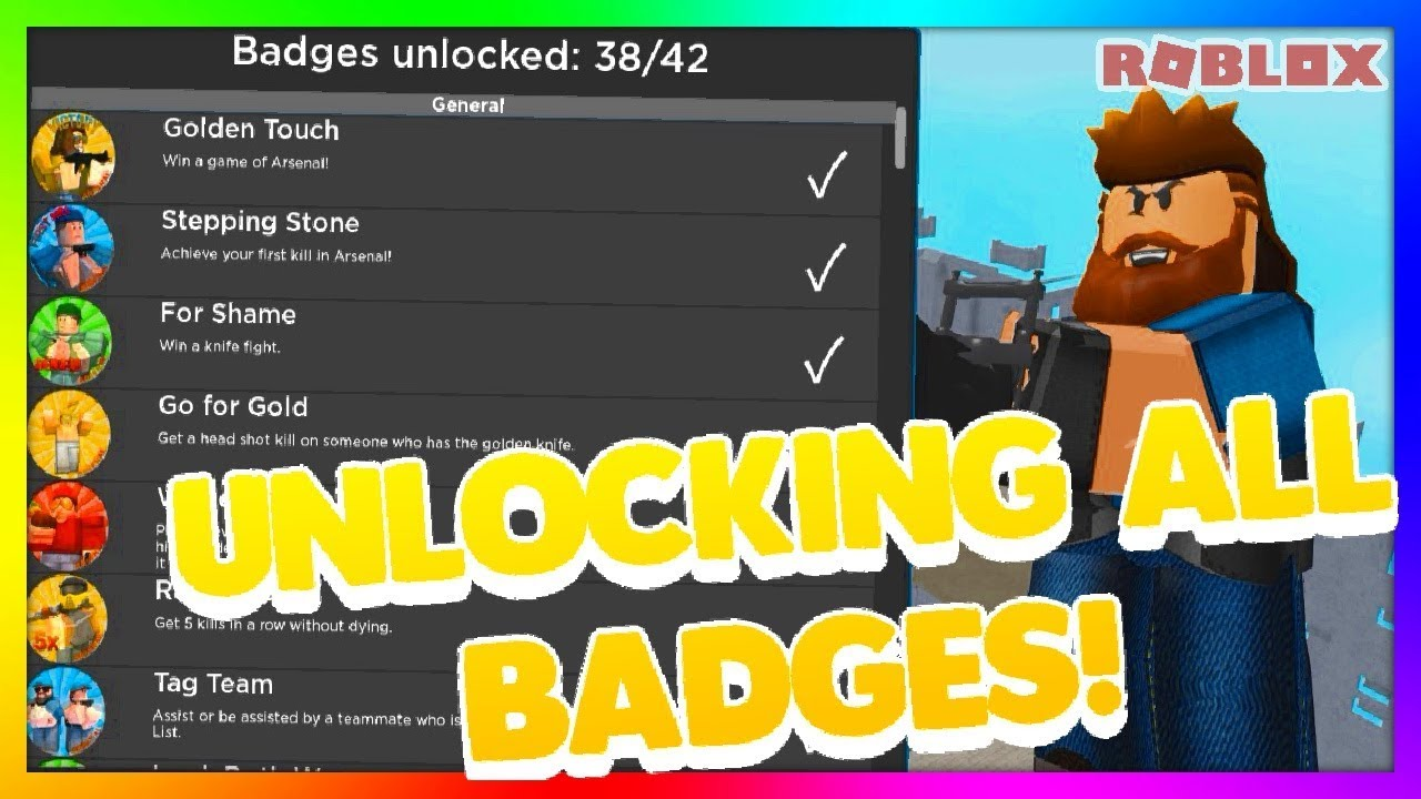 Getting All Badges In Arsenal Roblox Arsenal Youtube