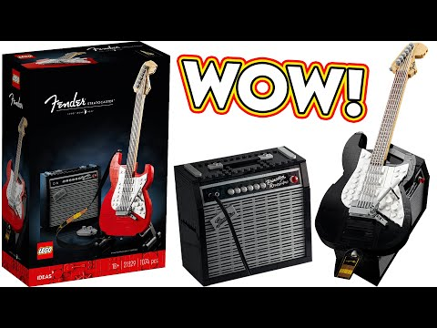 WOW! LEGO Fender Stratocaster Electric Guitar Reveal, Official Images & Info