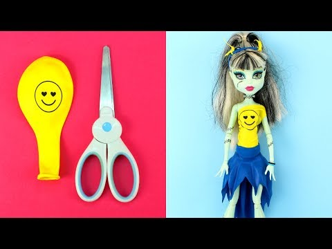 DIY Balloon Dresses for Monster High Dolls ✂️🎈✨How to Make Easy No Sew Clothes and Outfits for Dolls