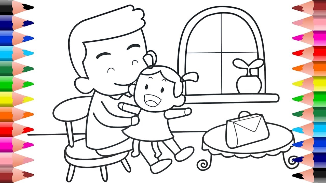 Father And Daughter Coloring Pages Coloring For Kids Youtube
