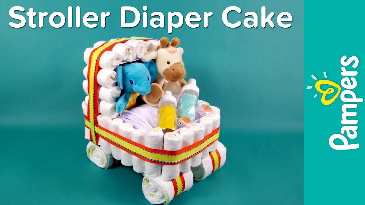 Diaper Cake Ideas Stroller Diaper Cake Pampers Baby Shower Ideas